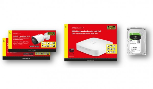 SANTEC IP-Videoset IP-Rekorder + 2 Mini-Bulletkameras + 1 HDD 1TB