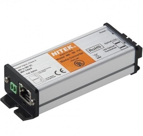 NITEK Medienkonverter 1 Port Multi POE+, MM-100-POE