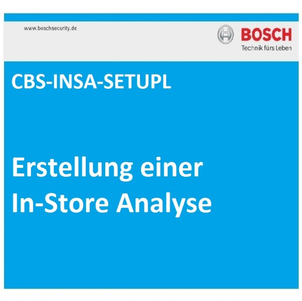 BOSCH CBS-INSA-SETUPL, Erstellung einer In-Store-Analyse