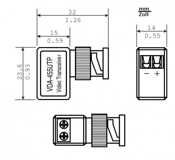 BOSCH VDA-455UTP, Miniatur Zweidrahtadapter für Flexidome 5000